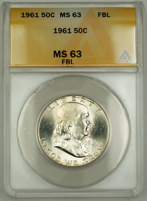 1961 Franklin Silver Half Dollar 50c Coin ANACS MS-63 Full Bell Lines Better* RL