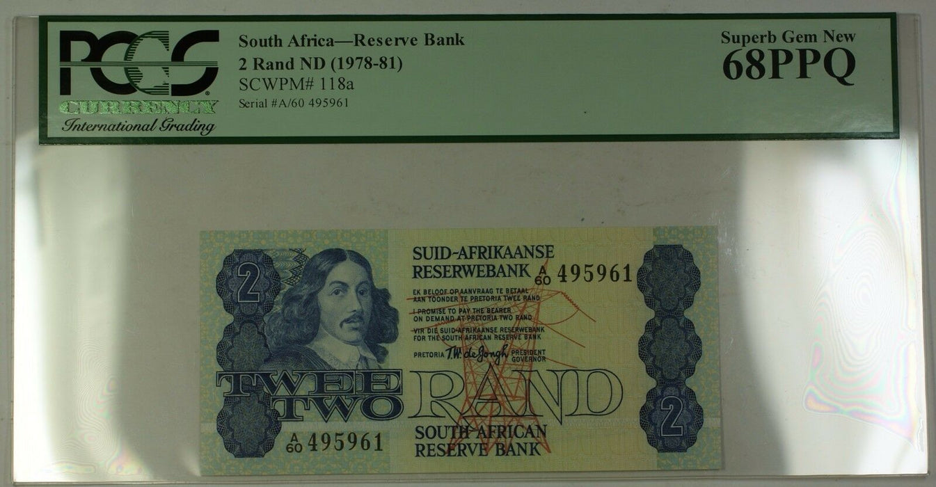 (1978-81)No Date South Africa 2 Rand Bank Note SCWPM#118a PCGS Superb Gem 68 PPQ