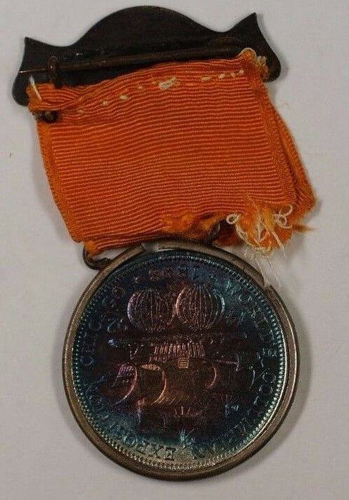 """Columbus Day Badge"" 1893 Columbus Half BEAUTIFUL TONING In Medal and RIbbon GH"