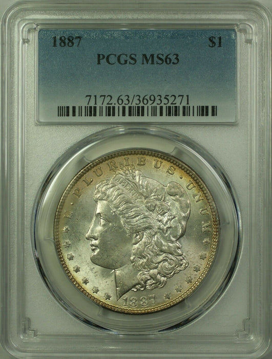 1887 Morgan Silver Dollar $1 Coin PCGS MS-63 (Better Coin) (20) (C)