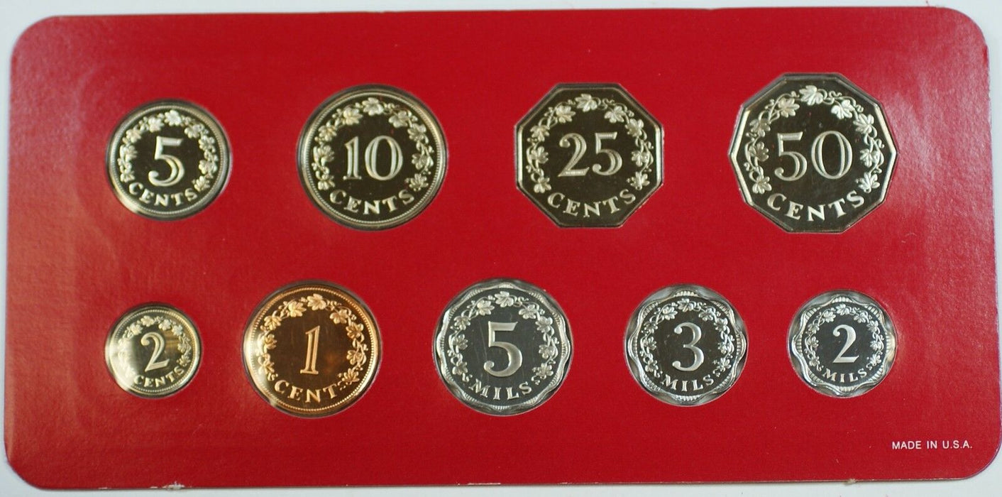 1977 Republic of Malta Proof Set, 9 Gem Coins, Made by the Franklin Mint W/ COA