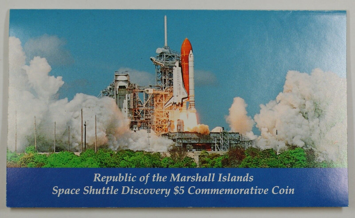 "1988 Marshall Islands $5 Coin ""Space Shuttle Discovery"" in Presentation Folder"