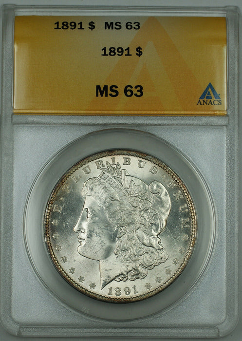1891 Silver Morgan Dollar, ANACS MS-63, Better Coin, DGH