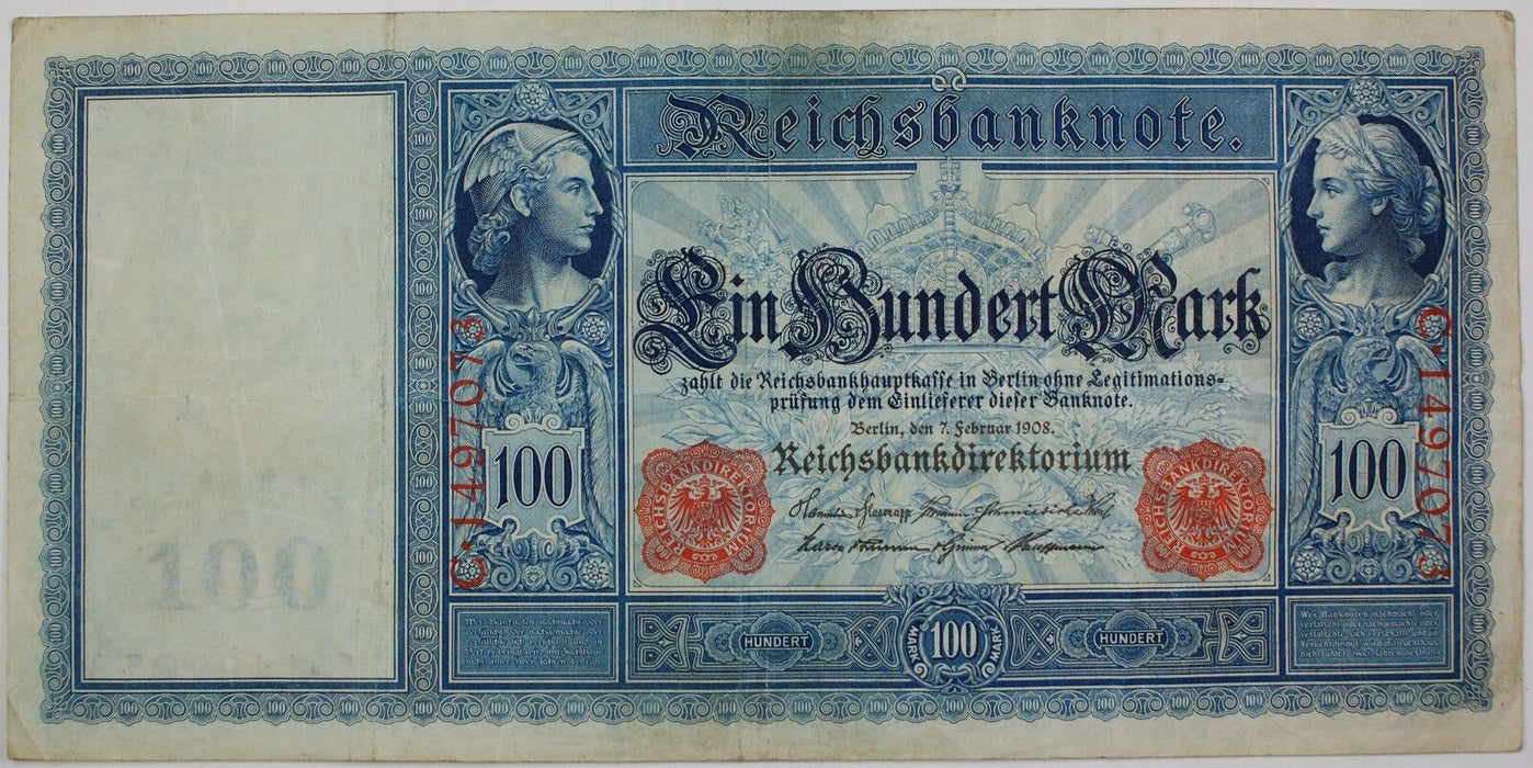 1908 German One Hundred Mark Note, P-35, Very Fine, Beautiful Design