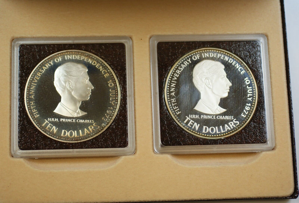 1978 Bahamas 5th Anniv. Prince Charles 2 Coin Silver Proof Set with Case and COA