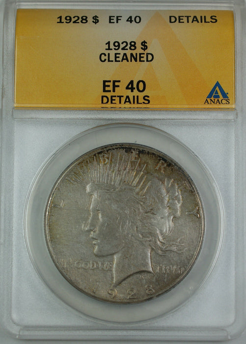 1928 Peace Silver Dollar Coin, ANACS EF-40 Details - Cleaned