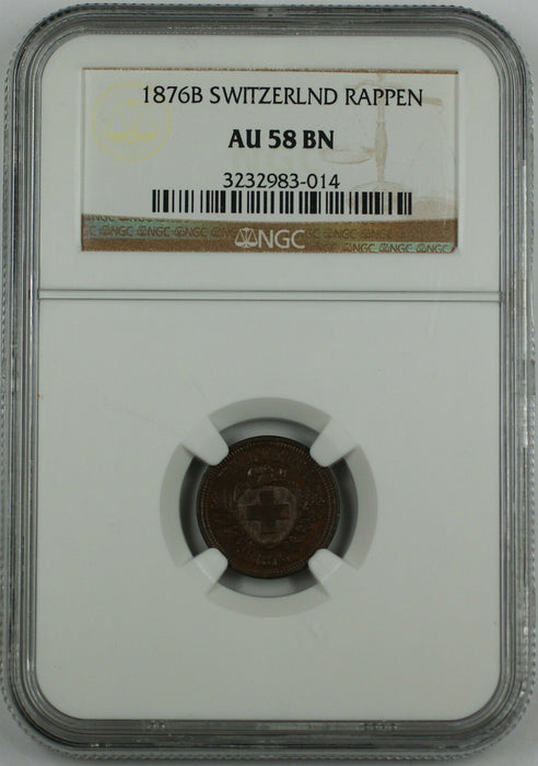 1876-B Switzerland 1 Rappen, NGC AU-58 BN, Swiss Coin