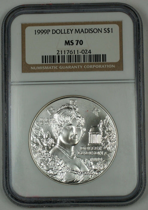 1999-P Dolley Madison Commemorative Silver Dollar Coin, NGC MS-70, Perfect Coin