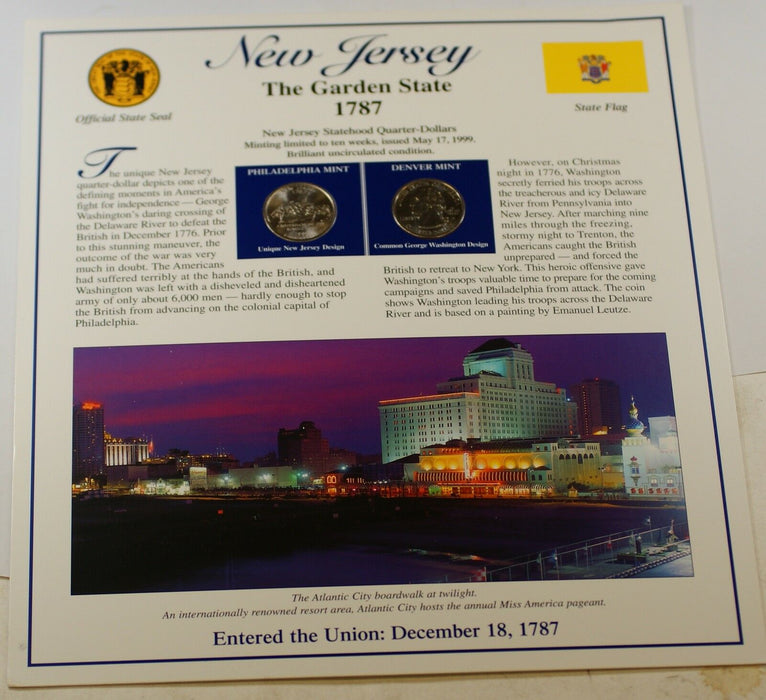 P&D Set of New Jersey State Quarters, BU Coins, W/ Fact Sheet about the State