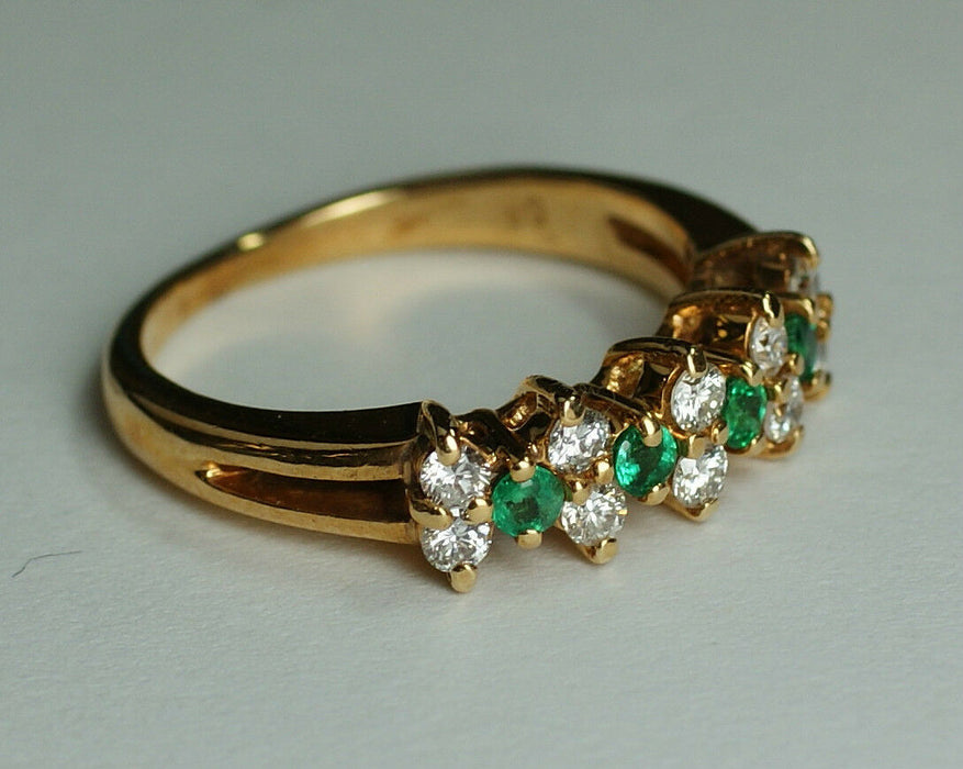 Ladies 14K Yellow Gold Diamond & Emerald Ring, Sz 4.75 (Free Sizing w/ Purchase)