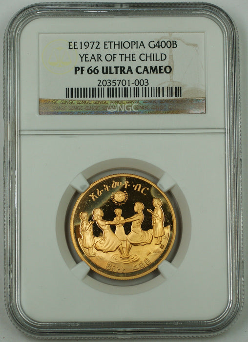 EE 1972 Ethiopia 400 Birr Gold Coin, NGC PF-66 UC, Year of the Child KM#60