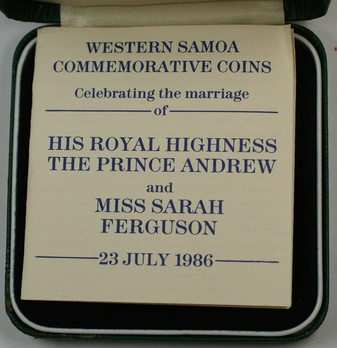 1986 Western Samoa Silver Proof 10 Dollar Coin Marriage of Prince Andrew