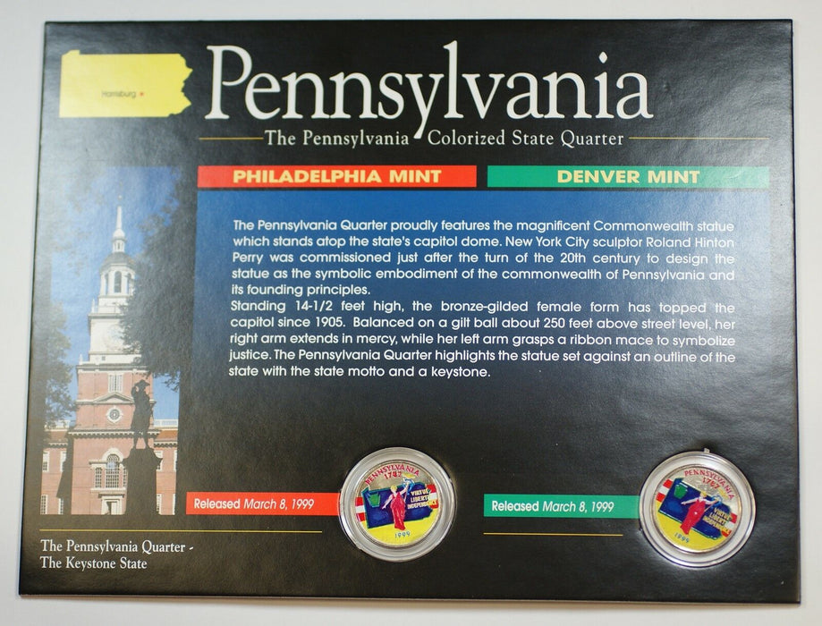 (2) 1999 Pennsylvania Colorized State Quarter P&D-BU-w/Colorful Display Card
