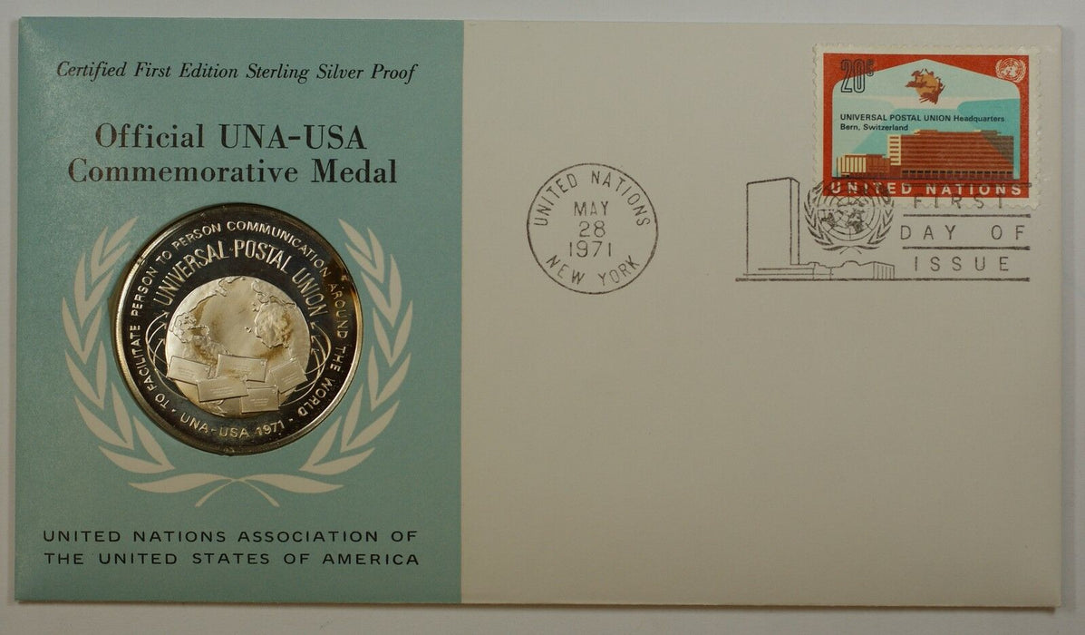 1971 UNA-USA Commemorative Silver Proof Medal- Universal Postal Union-FDI Stamp