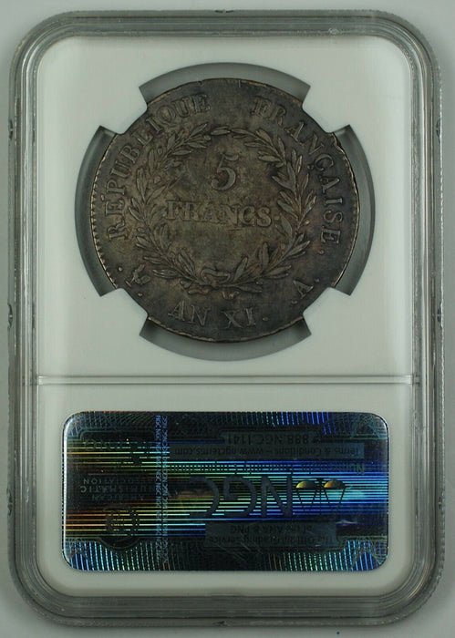 AN. XI-A France Five Franc Silver Coin 5F Napoleon NGC VF-35 AKR