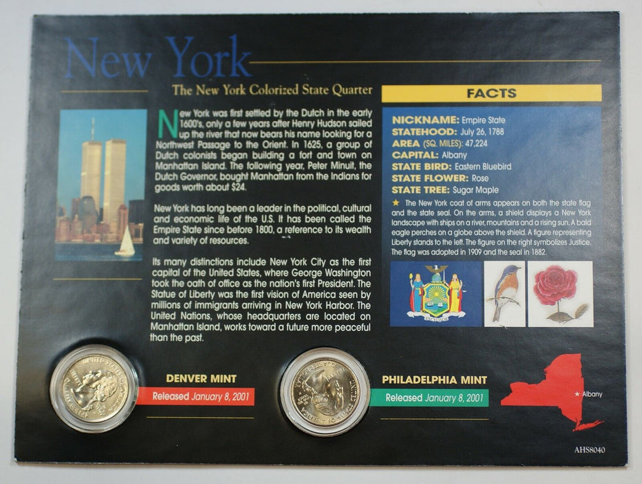 (2) 2001 New York Colorized State Quarter P&D-BU- w/Colorful Display Card