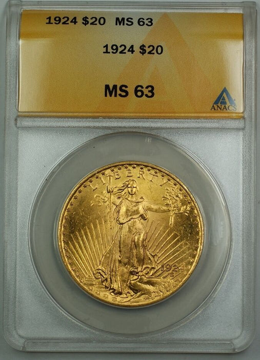 1924 $20 St. Gaudens Double Eagle Gold Coin ANACS MS-63 BS