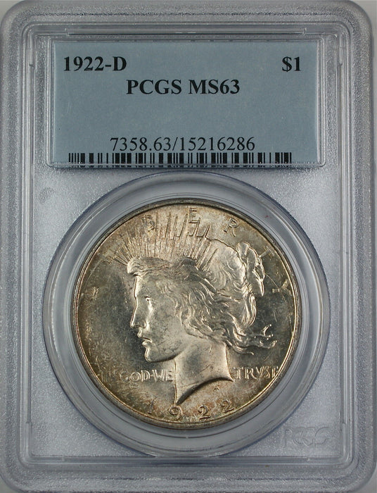 1922-D Peace Silver Dollar Coin, PCGS MS-63, Beautifully Toned