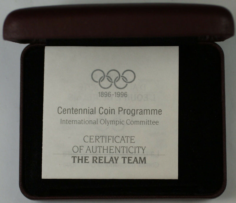 Australian Centennial 1996 The Relay Team Commemorative Silver Proof Coin,Case