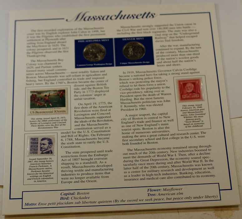 P&D Set of Massachusetts State Quarters, BU, W/ Fact Sheet about the State