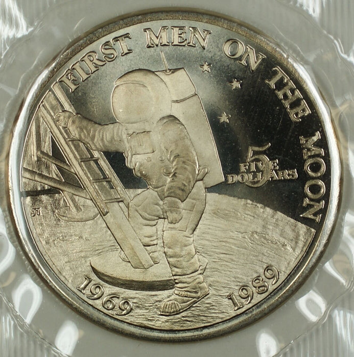 "1989 Marshall Islands $5 Coin ""First Men on the Moon"" in Presentation Folder"