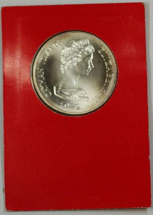 1972 Cayman Islands 25 Dollar Silver Coin 25th Ann. Marriage Queen Elizabeth II
