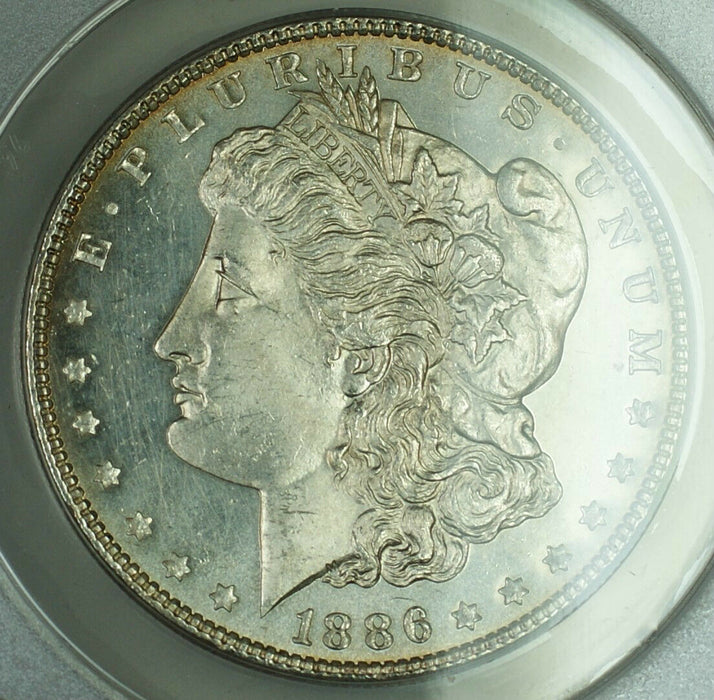 1886 Morgan Silver Dollar Coin, ANACS MS-60, Details, Cleaned, (Proof-Like, PL)