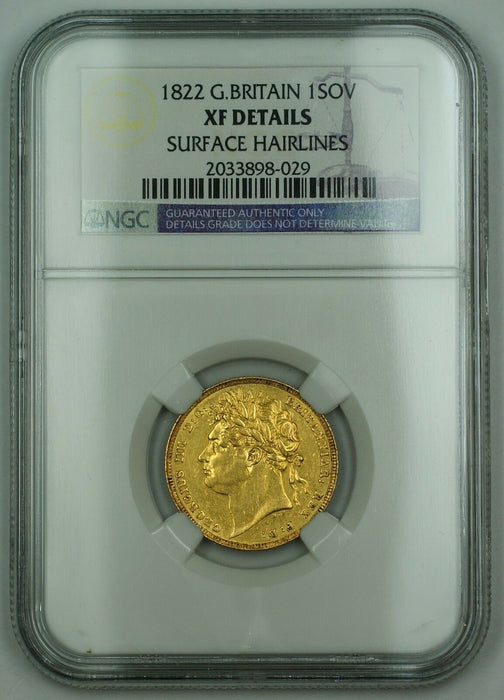 1822 Great Britain 1 Sovereign Gold Coin NGC XF Details Surface Hairlines AKR