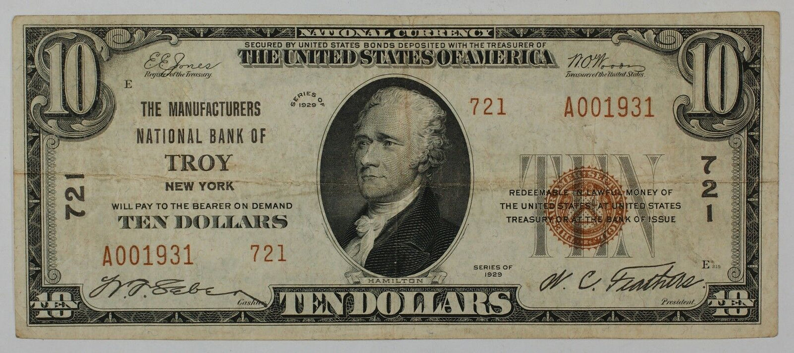 1929 $10 National Currency Bank Note- Troy, New York- Type 2- 721- Rensselaer