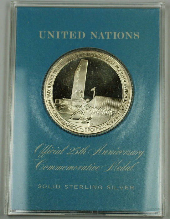 U.N. 25th Anniversary Commemorative Sterling Silver Medal, Excellent Condition.