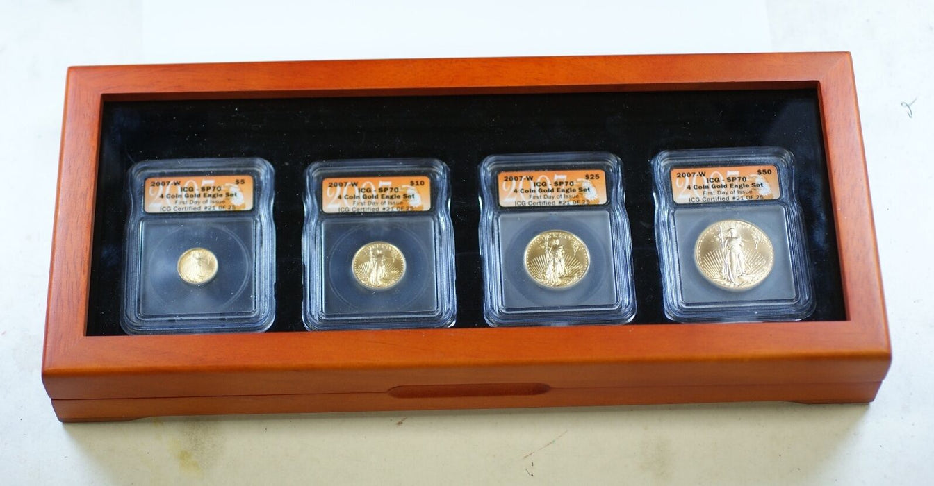 2007-W ICG SP-70 American Gold Eagle 4 Coin FDI Set #21 of 25