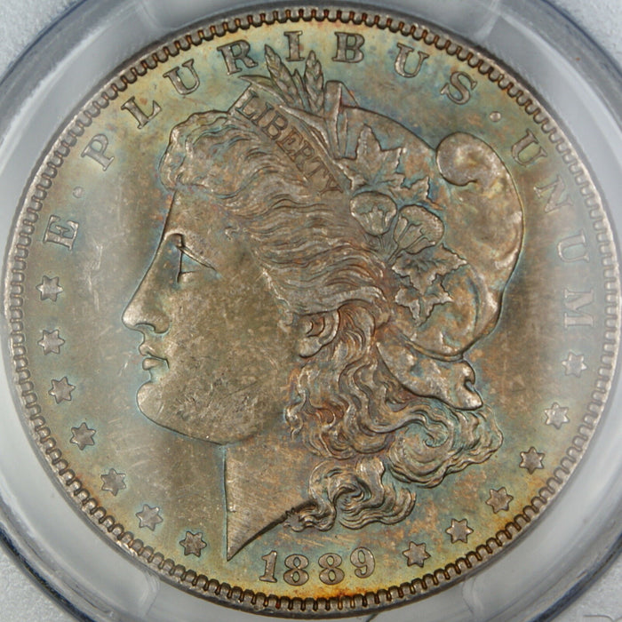 1889 Morgan Silver Dollar, PCGS MS-63, Beautifully Toned, DGH