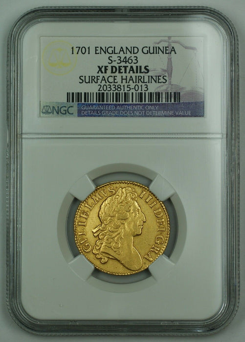 1701 England Gold Guinea Coin S-3463 NGC XF Details Surface Hairlines AKR