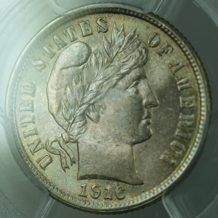 1916 Barber Silver Dime, PCGS MS-64, Lightly Toned