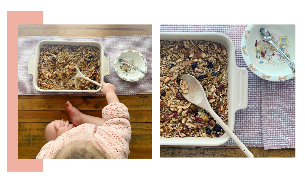 Baking with Toddlers. Cooking with Toddlers. Cooking with Kids. Baking with Kids. Granola Recipe for Kids. Healthy Granola Recipe.