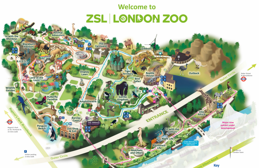 London Zoo Route Map with One Way System June 2020