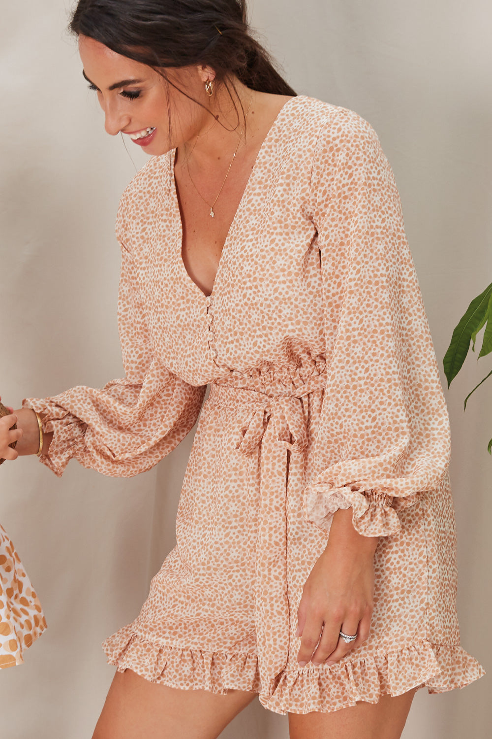 Jackie Spotted Chiffon Playsuit