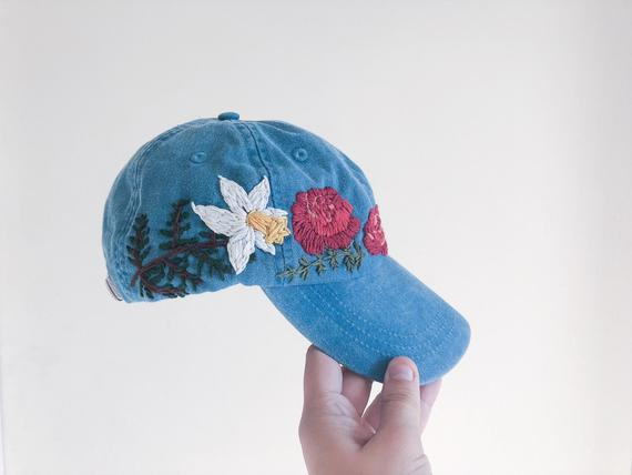 a5bc213f ... Daffodils Embroidered Hat; Load image into Gallery viewer, Roses & Daffodils  Embroidered ...