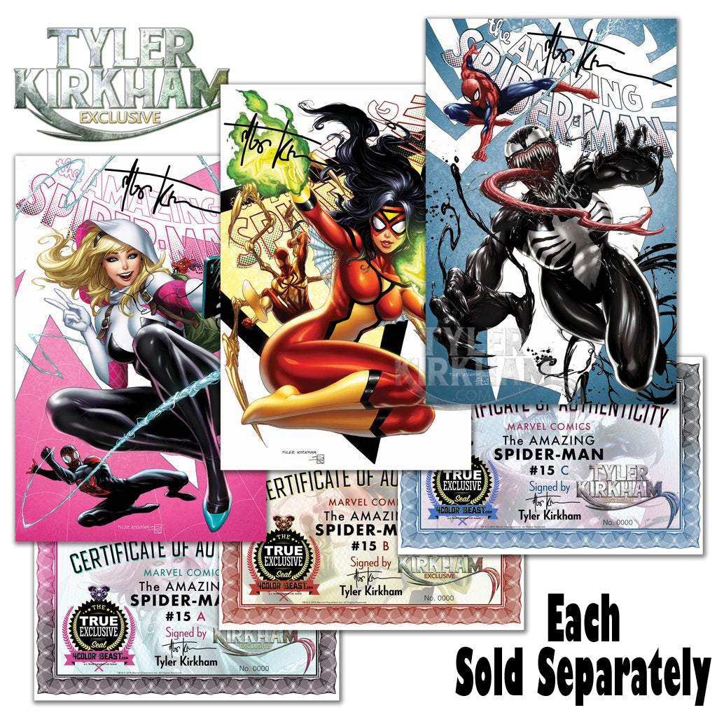 AMAZING SPIDER-MAN #15A, #15B, #15C (TYLER KIRKHAM SIGNED/EXCLUSIVE COVERS) ~ Marvel Comics