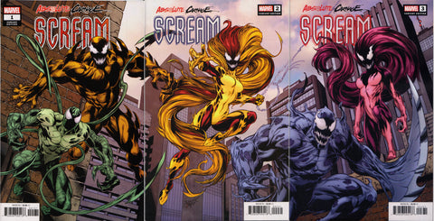 ABSOLUTE CARNAGE: SCREAM #1,2,3 (MARK BAGLEY VARIANT SET) COMIC BOOK ~ Marvel Comics