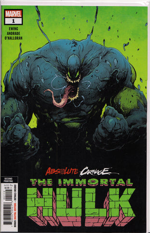ABSOLUTE CARNAGE: IMMORTAL HULK #1 (2ND PRINT VARIANT) COMIC BOOK ~ Marvel Comics