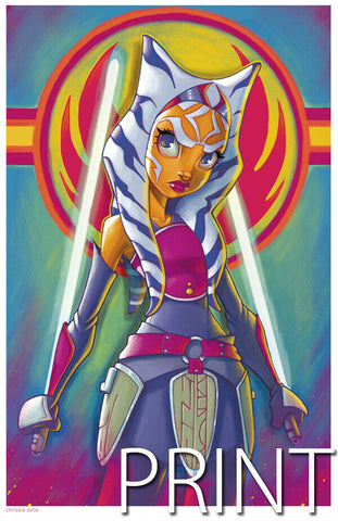 "STAR WARS AHSOKA ART PRINT ~ Signed by Chrissie Zullo ~ 11"" x 17"""
