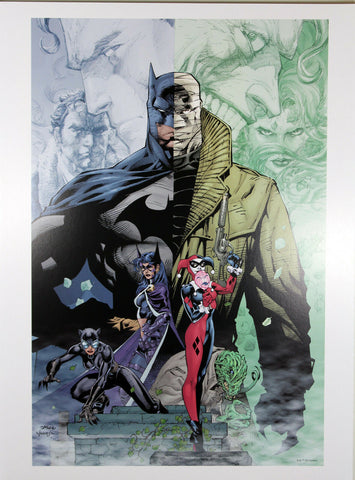 "BATMAN HUSH ART PRINT by Jim Lee ~ 12"" x 16"" ~ Great Condition"