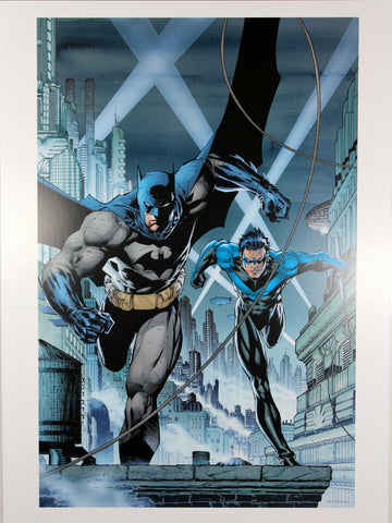 "BATMAN & NIGHTWING ART PRINT by Jim Lee ~ 12"" x 16"" ~ Great Condition"