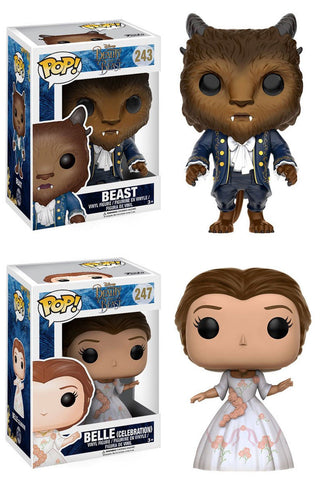 Funko POP! Disney ~ THE BEAST & BELLE (CELEBRATION) FIGURE SET ~ Beauty & Beast