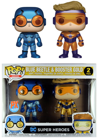 Funko POP! DC Heroes ~ BLUE BEETLE & BOOSTER GOLD METALLIC VINYL FIGURE SET ~ JL