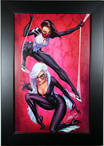 BLACK CAT & SILK by J. Scott Campbell ~ FRAMED ART ~ (Print/Poster)