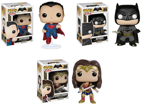 Funko POP! DC Heroes ~ BATMAN v. SUPERMAN (& WONDER WOMAN) VINYL FIGURE SET