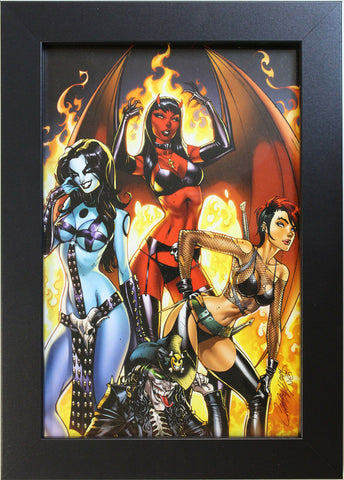 CHAOS - LADY DEATH, PURGATORI, CHASTITY, ERNIE by J. Scott Campbell - FRAMED ART