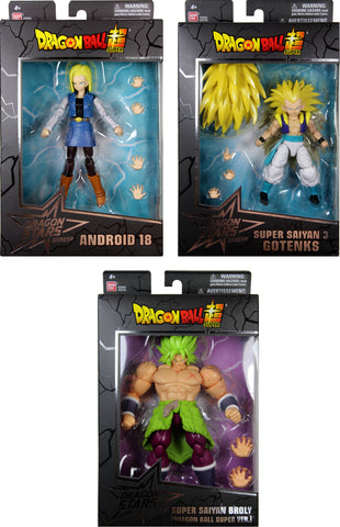 Dragon Stars Series 12 Action Figure Set ~ SS3 Gotenks, Android 18 and SS Broly ~ Bandai